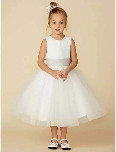 932bdbc7180 A-Line Tea Length Flower Girl Dress - Lace   Tulle Sleeveless Jewel Neck  with Lace   Sash   Ribbon by LAN TING BRIDE®