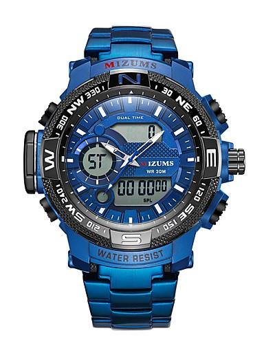Muškarci Sportski sat digitalni sat Japanski Japanski kvarc Nehrđajući čelik Srebro / Svijetlo plava 30 m Vodootpornost Kalendar Svijetli u mraku Analogni-digitalni Moda - Silver / Black Crna / Plava