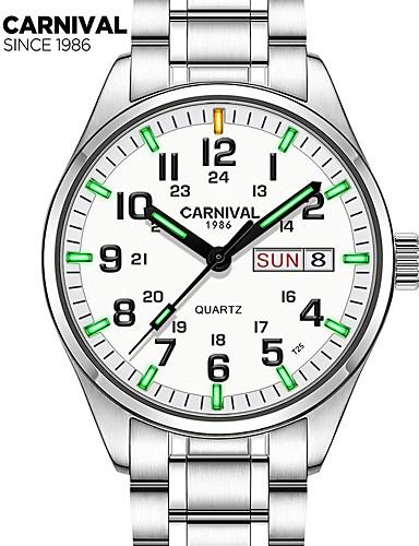 Carnival Homens Relógio de Pulso Quartzo 30 m Impermeável Relógio Casual Aço Inoxidável Banda Analógico Amuleto Fashion Branco - Branco Branco + azul
