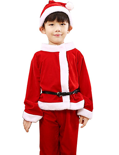 f2d0873ae3a6 Cosplay Costume Santa Clothes Kid's Boys' Christmas Christmas New Year  Festival / Holiday Terylene Red Carnival Costumes Holiday