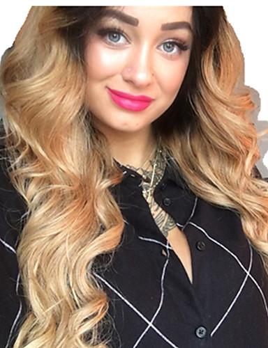billige Blondeparykker med menneskehår-Remy Menneskehår Helblonde Blonde Forside Parykk Asymmetrisk frisyre Beyonce stil Brasiliansk hår Krop Bølge Naturlige bølger Naturlig Gull Parykk 130% 150% 180% Hair Tetthet Myk Dame Lett dressing