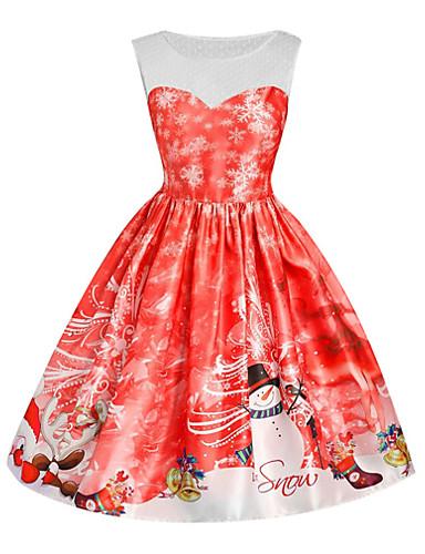 voordelige Kerstwinkel-Dames Feest Uitgaan Vintage Jaren '50 A-lijn Jurk Print Boven de knie Sneeuwpop