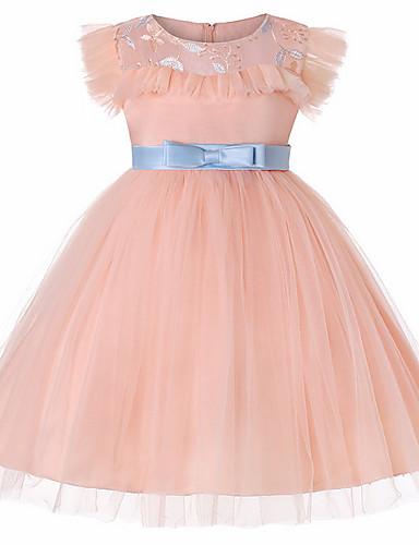 Djeca Djevojčice Aktivan Dnevno Jednobojni Mašna Bez rukávů Do koljena Haljina Blushing Pink