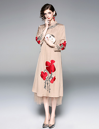 c27c4b4af1fd YHSP Women s Party   Going out Vintage   Chinoiserie Loose Swing Dress -  Floral Rose