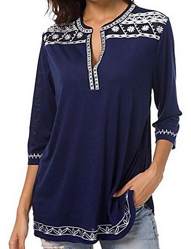 billige Topper til damer-Dyp V Store størrelser Skjorte Dame - Ensfarget / Geometrisk Grunnleggende Lilla XXXL