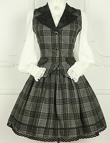 ffc92ed3a37 Sweet Lolita Dress Casual Lolita Dress Sweet Lolita Princess Lolita Wool  Female Skirt Corset Cosplay Cyan Lace Sleeves Knee Length Costumes