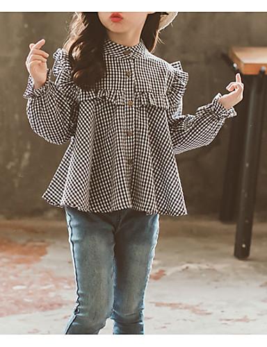 Djeca Djevojčice Osnovni Dnevno Jednobojni Dugih rukava Regularna Pamuk Bluza Crn