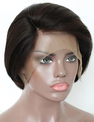 billige Blondeparykker med menneskehår-Ubehandlet hår Remy Menneskehår Blonde Forside Parykk Lagvis frisyre Kort bob stil Brasiliansk hår Naturlig rett Naturlig Parykk 130% Hair Tetthet Myk Naturlig Naturlig hårlinje Afroamerikansk parykk