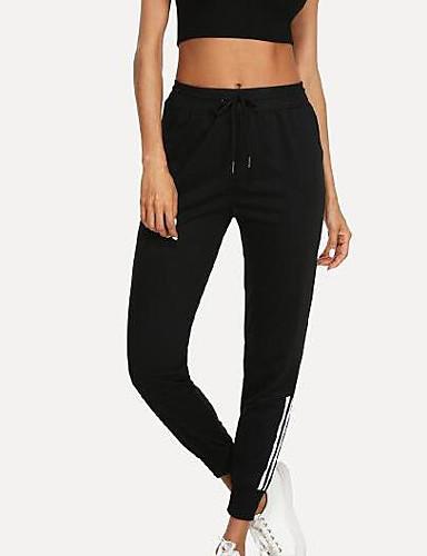 abordables Pantalons Femme-Femme Basique Quotidien Chino Pantalon - Couleur Pleine Noir S M L