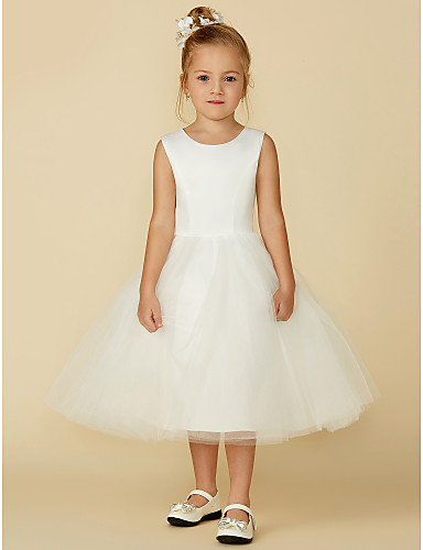 cheap Flower Girl Dresses-Princess Tea Length Flower Girl Dress - Satin / Tulle Sleeveless Jewel Neck with Lace by LAN TING BRIDE®