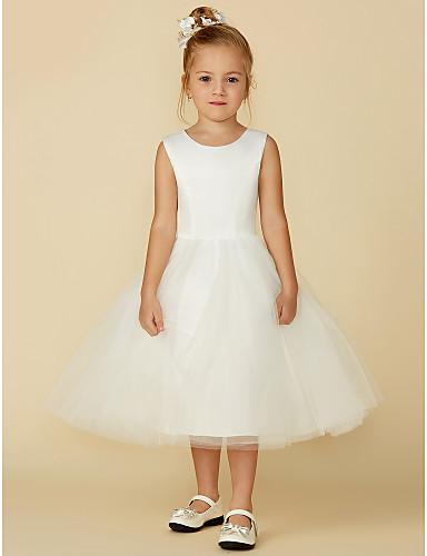 480f1047a3fa Πριγκίπισσα Κάτω από το γόνατο Φόρεμα για Κοριτσάκι Λουλουδιών - Σατέν    Τούλι Αμάνικο Με Κόσμημα με Δαντέλα με LAN TING BRIDE®