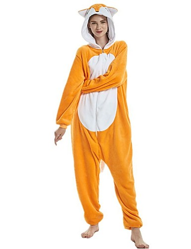 82fc1dfe3ed3 Adults  Kigurumi Pajamas Fox Onesie Pajamas Flannel Fabric Orange Cosplay  For Men and Women Animal Sleepwear Cartoon Festival   Holiday Costumes