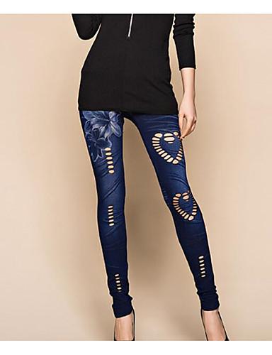 Žene Traper Osnovni Legging - Jednobojni, Drapirano Medium Waist Plava One-Size / Slim