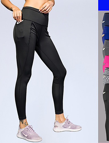 b7b596d176d7a Women's Pocket Running Tights Sports Solid Color Elastane High Rise Tights  Leggings Zumba Running Fitness Activewear Breathable Moisture Wicking Quick  Dry ...