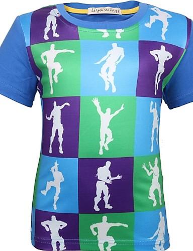 Baby Gutt Grunnleggende Fargeblokk Kortermet Polyester T-skjorte Blå