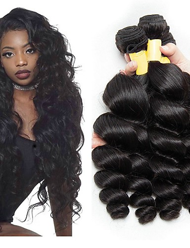 billige Skjønnhet og hår-3 pakker Peruviansk hår Bølget Ekte hår Ubehandlet Menneskehår Menneskehår Vevet Forlengere Bundle Hair 8-28 tommers Naturlig Farge Hårvever med menneskehår Silkete Beste kvalitet Silkebasert hår