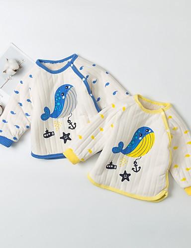 Dijete Dječaci Aktivan / Osnovni Dnevno Blue & White Kolaž Kolaž Dugih rukava Duga Pamuk Bluza Plava / Dijete koje je tek prohodalo