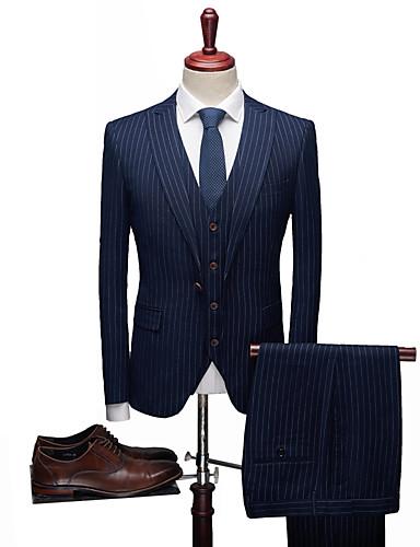 Jednobojni / Prugasti uzorak Standardni kroj Spandex / polyster Odijelo - Šiljasti Droit 1 bouton / odijela