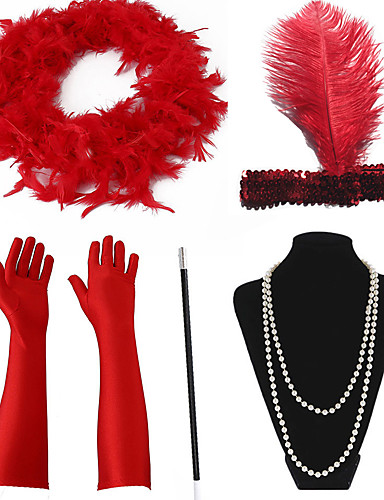levne Kostýmy z dávných časů-The Great Gatsby Charleston Vintage 1920s Náhrdelník Čelenka Flapper Sady kostýmních doplňků Dámské Kostým Doplňky do vlasů Šátek na náhrdelník İnci Kolyeler Držák cigaret červená / bílá Retro Cosplay