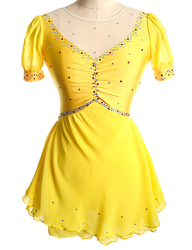robe de patinage artistique femme fille patinage robes jaune rouge spandex comp tition tenue. Black Bedroom Furniture Sets. Home Design Ideas