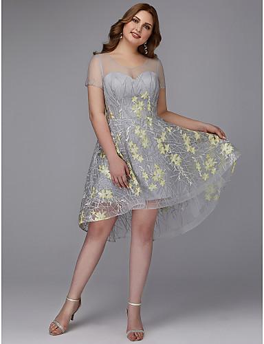 voordelige Grote maten jurken-A-lijn Met sieraad Asymmetrisch Kant Cocktailparty Jurk met Appliqués / Borduurwerk door TS Couture®