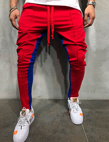 d18e2b012 Men's Sporty / Active / Basic Daily Sweatpants Pants - Color Block Cotton  Red Gray Yellow XL XXL XXXL / Spring / Fall #06997625