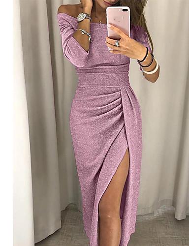 Damskie Elegancja Szczupła Bodycon Sukienka - Solidne kolory, Rozcięcie Z odsłoniętymi ramionami Midi