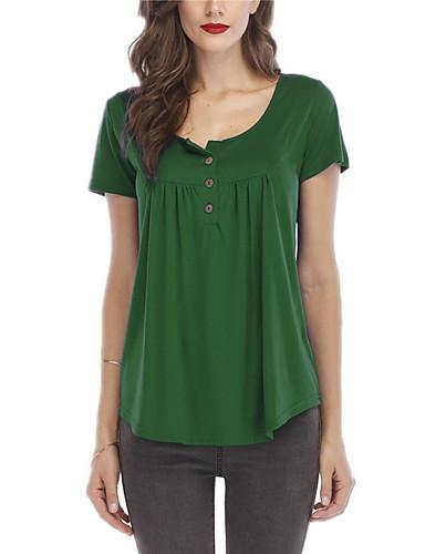 billige Dametopper-Løstsittende T-skjorte Dame - Ensfarget Lyseblå