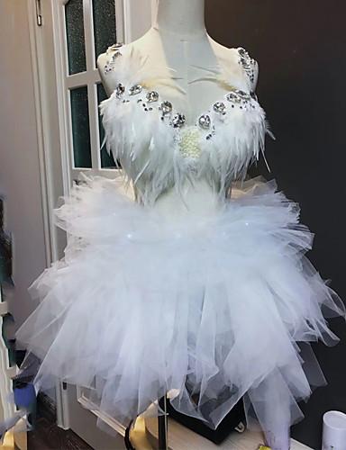 povoljno Egzotična plesna odjeća-Egzotična plesna odjeća Egzotična plesna odjeća / Kombinezoni za izlaske Žene Seksi blagdanski kostimi Spandex Perje / krzno / Kristali / Rhinestones Suknje / Grudnjak / Kratke hlače