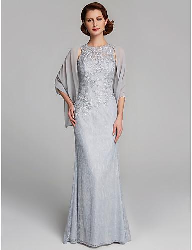 voordelige Wrap Dresses-Strak / kolom Met sieraad Tot de grond Kant Bruidsmoederjurken met Kant door LAN TING BRIDE®