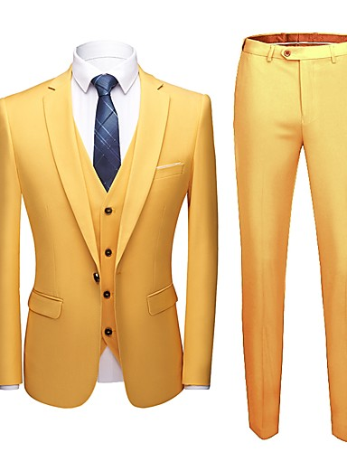 preiswerte Anzüge-Solide Reguläre Passform Polyester Anzug - Fallendes Revers Einreiher - 1 Knopf / Anzüge