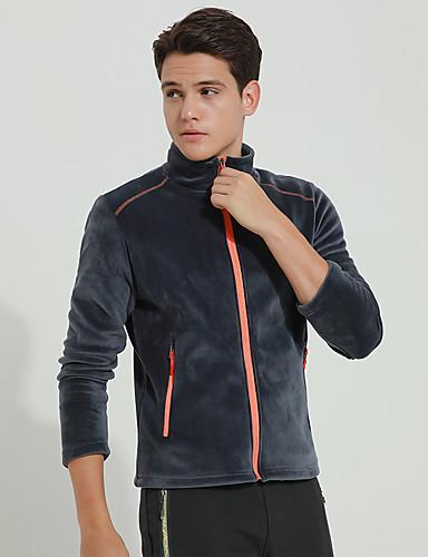 cheap Outdoor Clothing-DZRZVD® Men's Hiking Fleece Jacket Outdoor Autumn / Fall Spring Windproof Top Full Length Visible Zipper Outdoor Exercise Outdoor Black / Dark Grey / Royal Blue / Winter
