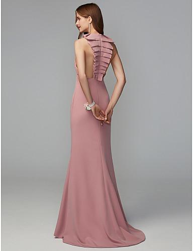 1dcc097ba717 Εφαρμοστό   Εμβαζέ Με Κόσμημα Ουρά   Midi Ζέρσεϊ Φόρεμα Παρανύμφων με Που  καλύπτει με LAN TING BRIDE®   Ανοικτή Πλάτη