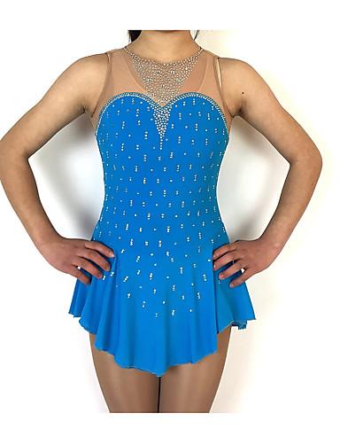 abordables Robe de Patinage-Robe de Patinage Artistique Femme Fille Patinage Robes Bleu marine Mosaïque Spandex Fil élastique Haute élasticité Compétition Tenue de Patinage Fait à la main Classique Sans Manches Patinage