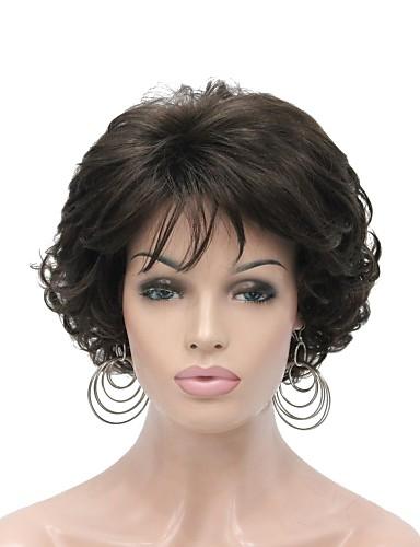 저렴한 신상품-인조 합성 가발 여성용 곱슬한 브라운 레이어드 헤어컷 150 % 인간의 머리카락 밀도 인조 합성 헤어 6 인치 합성의 브라운 가발 짧음 캡 없음 체스트넛 브라운 다크 브라운 / 다크 오번