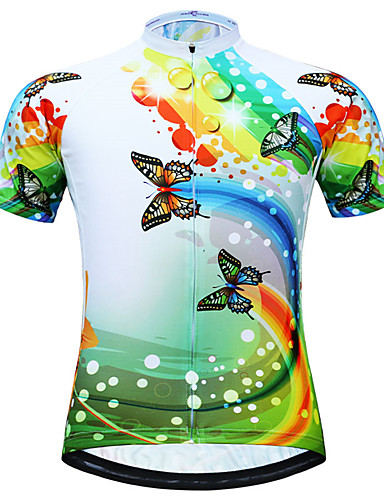 cheap Cycling Clothing-JESOCYCLING Women's Short Sleeve Cycling Jersey - Light Green Butterfly Plus Size Bike Jersey Top Breathable Quick Dry Back Pocket Sports Polyester Mountain Bike MTB Road Bike Cycling Clothing Apparel