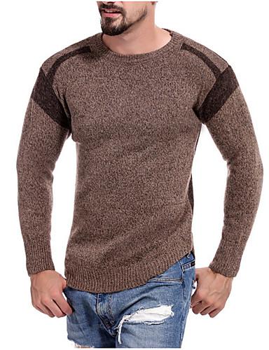 Pánské - Jednobarevné Základní Tričko Bavlna Kulatý Námořnická modř M / Dlouhý rukáv