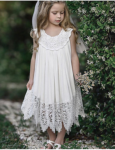 Dzieci Dla dziewczynek Słodkie Codzienny Solidne kolory Koronka Bez rękawów Maxi Poliester Sukienka Biały