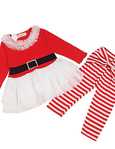 Dijete Djevojčice Aktivan / Osnovni Božić / Praznik Jednobojni Mašna / Mrežica Dugih rukava Regularna Pamuk Komplet odjeće Red / Dijete koje je tek prohodalo
