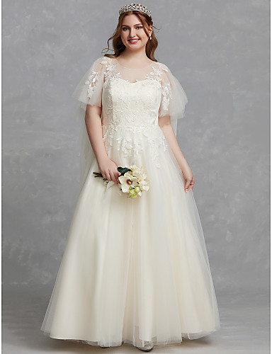 6a552c3ba58 Plus Size A-Line Scoop Neck Floor Length Lace   Tulle Made-To-Measure  Wedding Dresses with Appliques   Lace by LAN TING BRIDE®   Beautiful Back  7006840 2019 ...
