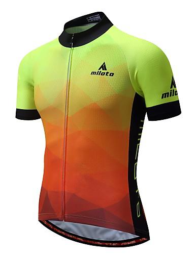 cheap Cycling Clothing-Miloto Men's Short Sleeve Cycling Jersey - Luminous Bike Jersey Back Pocket Sports 100% Polyester Mountain Bike MTB Clothing Apparel / Stretchy