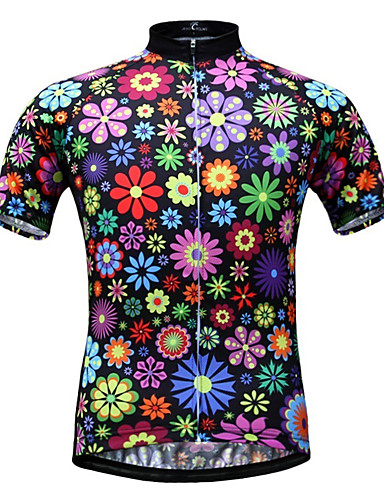 cheap Cycling Clothing-JESOCYCLING Women's Short Sleeve Cycling Jersey - Rainbow Floral / Botanical Plus Size Bike Jersey Top Breathable Quick Dry Ultraviolet Resistant Sports 100% Polyester Mountain Bike MTB Road Bike