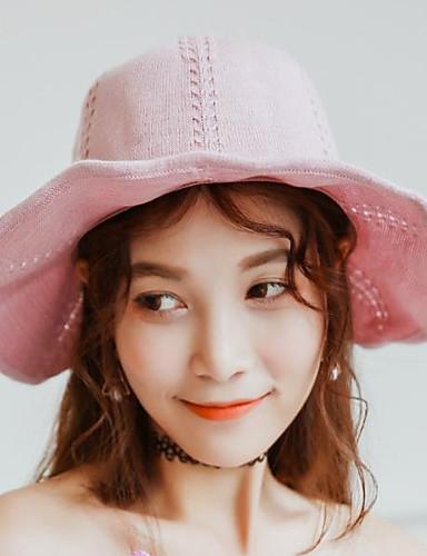 abordables Sombreros de mujer-Mujer Lazo Gorro / Sombrero Fedora / Sombrero Floppy - Básico / Vacaciones Un Color