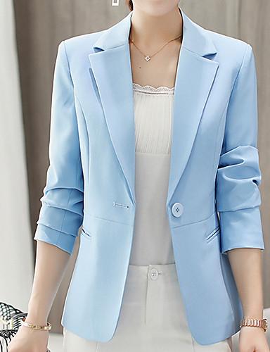billige Ytterklær til damer-Dame Daglig Forretning Normal Blazer, Ensfarget Skjortekrage Langermet Polyester Vin / Lyseblå / Marineblå / Tynn