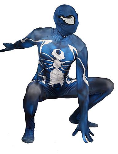 Zentai odijela Odijelo za kožu Puno radno odijelo uz tijelo Super Heroes Dječji Odrasli Lycra Cosplay Nošnje Muškarci i žene Plava Print Božić Halloween New Year
