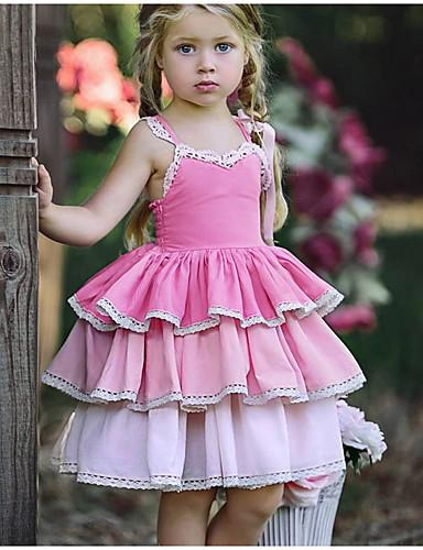 Dzieci Dla dziewczynek Słodkie Codzienny Solidne kolory Koronka Bez rękawów Do kolan Poliester Sukienka Rumiany róż