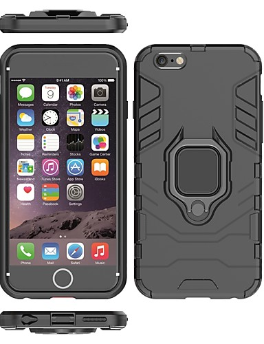 Кейс для Назначение Apple iPhone 6s / iPhone 6 Защита от удара / Кольца-держатели Кейс на заднюю панель Однотонный / броня Твердый ПК