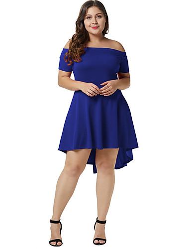 voordelige Grote maten jurken-Dames Standaard Schede Jurk Strapless Asymmetrisch