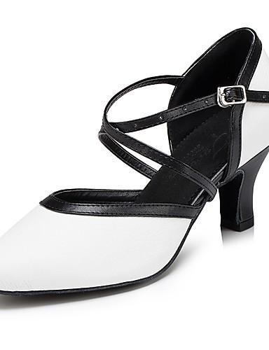 62ab2f462ac9e نسائي أحذية عصرية جلد كعب ربط كعب كوبي مخصص أحذية الرقص أبيض أسود