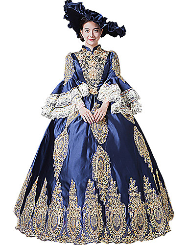 ab9c13832f0f Queen Princess Rococo Baroque Victorian 18th Century Ball Gown Costume  Women's Masquerade Costume Blue Vintage Cosplay Party Prom Long Sleeve  Flare Sleeve ...
